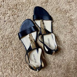 Black & Gold Genuine Leather Sandals